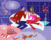 Valentines Day Prints - Romantic Night Print by Lisa Henderling