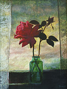 Rosebud Paintings - Rose and Rosebud by Laurie Stewart