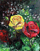 Pallet Knife Painting Originals - Rose from the Grey by David Ignaszewski