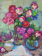 Pitcher Painting Originals - Roses In Two Vases by Diane McClary