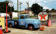 Road Mixed Media Metal Prints - Route 66 - Gas Station with Watercolor Effect Metal Print by Frank Romeo