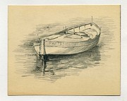 Row Boat Drawings Prints - Rowing Boat Print by John Chatterley