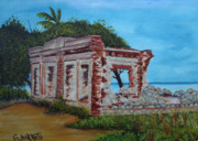 Puerto Rico Paintings - Ruinas Del Faro En Aguadilla by Gloria E Barreto-Rodriguez