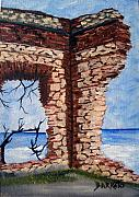 Puerto Rico Paintings - Ruins of Aguadilla Lighthouse by Gloria E Barreto-Rodriguez
