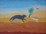 Wyoming Paintings - Run Rabbit Run - childhood painting by Dawn Senior-Trask