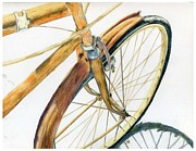 Colored Pencils Jewelry Posters - Rusty Beach Bike Poster by Norma Gafford