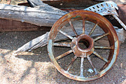 Spoked Wheel Posters - Rusty Old Wheel Poster by Kelly Holm