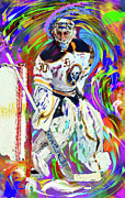 Hockey Paintings - Ryan Miller by Donald Pavlica