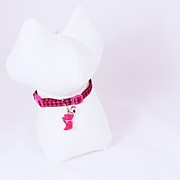Pet Jewelry Originals - Safety Collar with Hand-Sculpted Cat Charm in Hot Pink by Pet Serrano