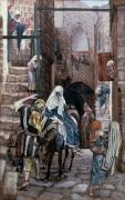 Illustration Framed Prints - Saint Joseph Seeks Lodging in Bethlehem Framed Print by Tissot