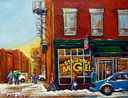 Store Fronts Painting Metal Prints - Saint Viareur And Park Avenue Bagel Shop Metal Print by Carole Spandau