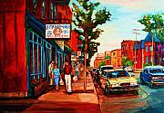 Montreal Summerscenes Prints - Saint Viateur Bagel Shop Print by Carole Spandau