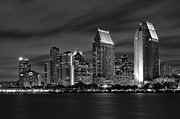 Sky Scraper Prints - San Diego Skyline at Night  Black and White Print by Larry Marshall