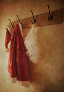 Jacket Posters - Santa costume hanging on coat hook Poster by Sandra Cunningham
