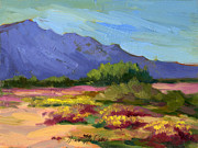 Verbena Paintings - Santa Rosa Mountains in Spring by Diane McClary