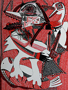 Checkered Drawings - Savage Birds by Edgeworth Johnstone