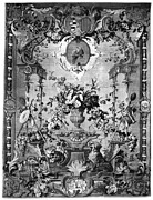 Flower Tapestries - Textiles Prints - SAVONNERIE PANEL c1800 Print by Granger
