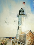 New England Lighthouse Painting Prints - Scituate Light Print by P Anthony Visco