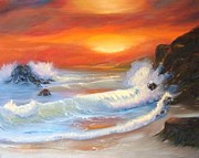 White Pebbles Originals - Seascape Collection Orange Sunset by E Luiza Picciano