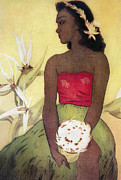 Dancer Paintings - Seated Hula Dancer by Hawaiian Legacy Archives - Printscapes