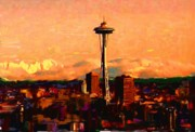 Seattle Mixed Media Prints - Seattle in the Clouds Print by Carla G Art Nitkey