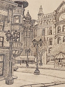 Lamp Post Drawings Framed Prints - Selby Corner Framed Print by David Bratzel