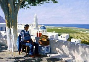 Shadows Paintings - Selling Wine in Santorini by Roelof Rossouw