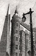 Urban Scene Drawings Framed Prints - Sentinel Building Framed Print by Andre Salvador