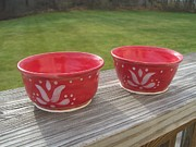 Food Ceramics Framed Prints - Set Of Small Red Bowls Framed Print by Monika Hood