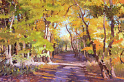 Yellow Leaves Painting Posters - Shady Path at Fall in the Woods Poster by Judith Barath