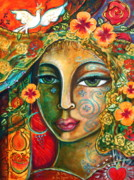 Visionary Art Painting Framed Prints - She Loves Framed Print by Shiloh Sophia McCloud