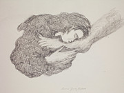 Spiritual Energy Art Drawings - She Wiped His Feet with Her Hair by Bruce Zboray