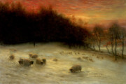 Joseph Farquharson  - Sheep in a Winter Landscape Evening