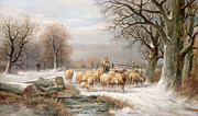 Alexis de Leeuw - Shepherdess with her Flock in a Winter...