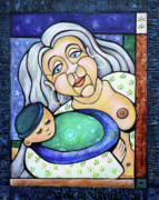 Breastfeeding Paintings - Shes Got the Whole World in Her Hands by Rachel M Cotton