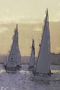 Seattle Digital Art Originals - Shilshoe Marina Races 2 by Arthur Kuntz