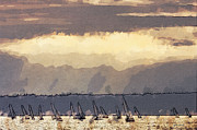 Seattle Digital Art Originals - Shilshoe Marina Races 3 by Arthur Kuntz