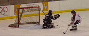 Hockey Player Photos - Shot and SAVE by John Telfer