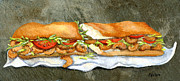 Bread Paintings - Shrimp Po Boy by Elaine Hodges