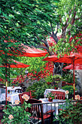 San Juan Painting Metal Prints - Sidewalk Cafe Metal Print by Lisa Reinhardt