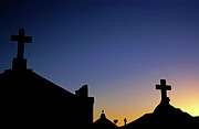 Tombstone Photos - Silhouetted tombstones in the Marine Cemetery in Bonifacio by Sami Sarkis