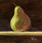 Vic Mastis Paintings - Single Pear II by Vic  Mastis