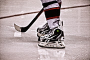 Hockey Player Photos - Skate Reflection by Karol  Livote