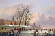 Dutch School - Skaters on a Frozen River before...