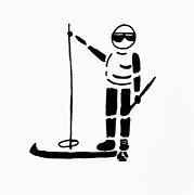 Sports Figure Drawings Posters - Ski Guy Poster by Robin Lewis