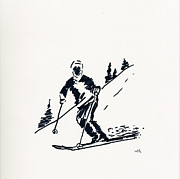 Ski Drawings Prints - Skier IV Print by Winifred Kumpf