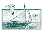 Boat Drawings Prints - Skipjack Print by John D Benson
