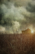 Haunted Photo Posters - Small abandoned farm house with storm clouds in field Poster by Sandra Cunningham