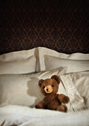 Toy Prints - Small teddy bear on bed Print by Sandra Cunningham