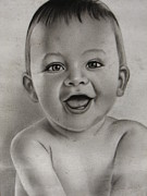Black And White Photos Drawings - Smiling baby by Cartoonize A Picture
